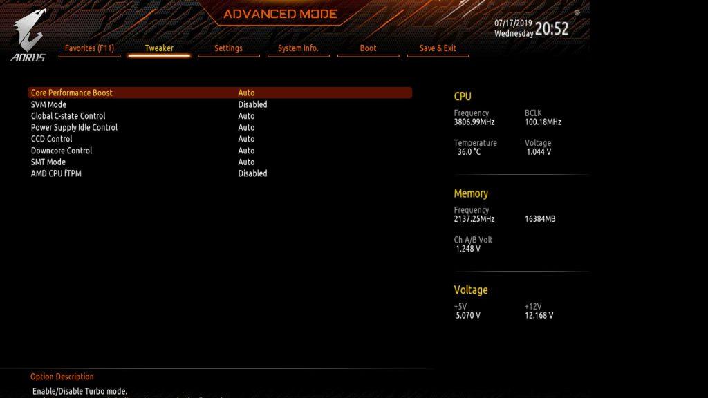 Carte mère Gigabyte X570 I Aorus Pro Wifi - BIOS