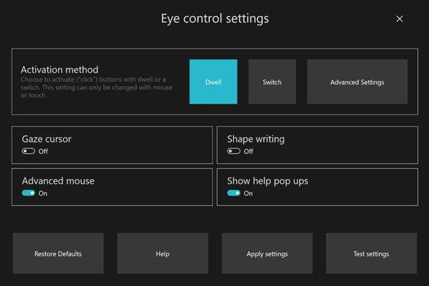 Windows 10 build 18932 - Eye Control