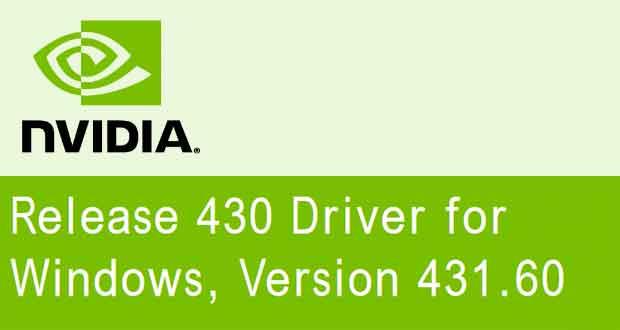 Drivers GeForce 431.60 WHQL de Nvidia