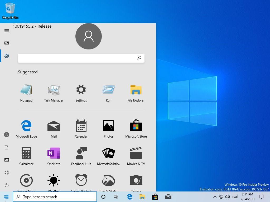Windows 10 build 18947 – Menu Démarrer
