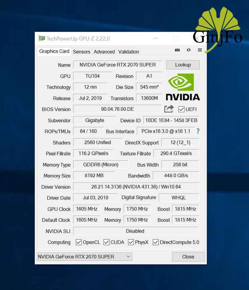 GeForce RTX 2070 Super Gaming OC 8G de Gigabyte - GPU-Z