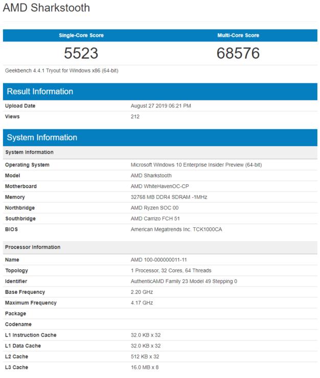 GeekBench - Ryzen-Threadripper 3000 series 32C/64T