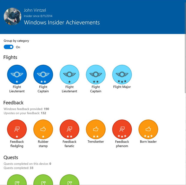 Windows 10 build 18965 - Windows Insiders Achievements