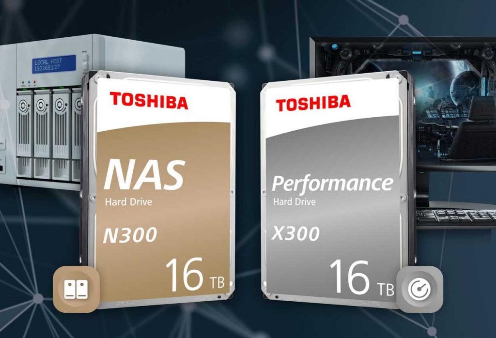 Disques durs NAS N300 et Performance X300 de 16 To de Toshiba