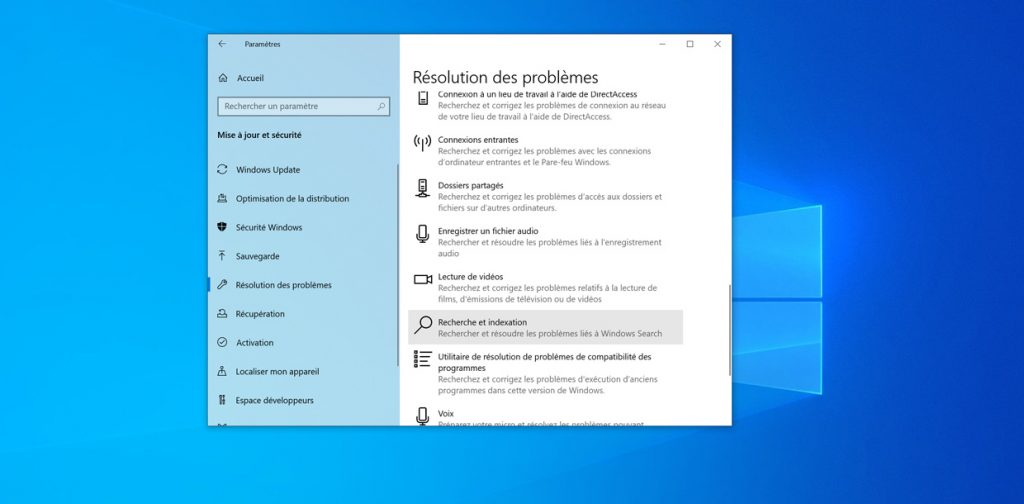 Windows 10 v1903 et le bug Windows Search