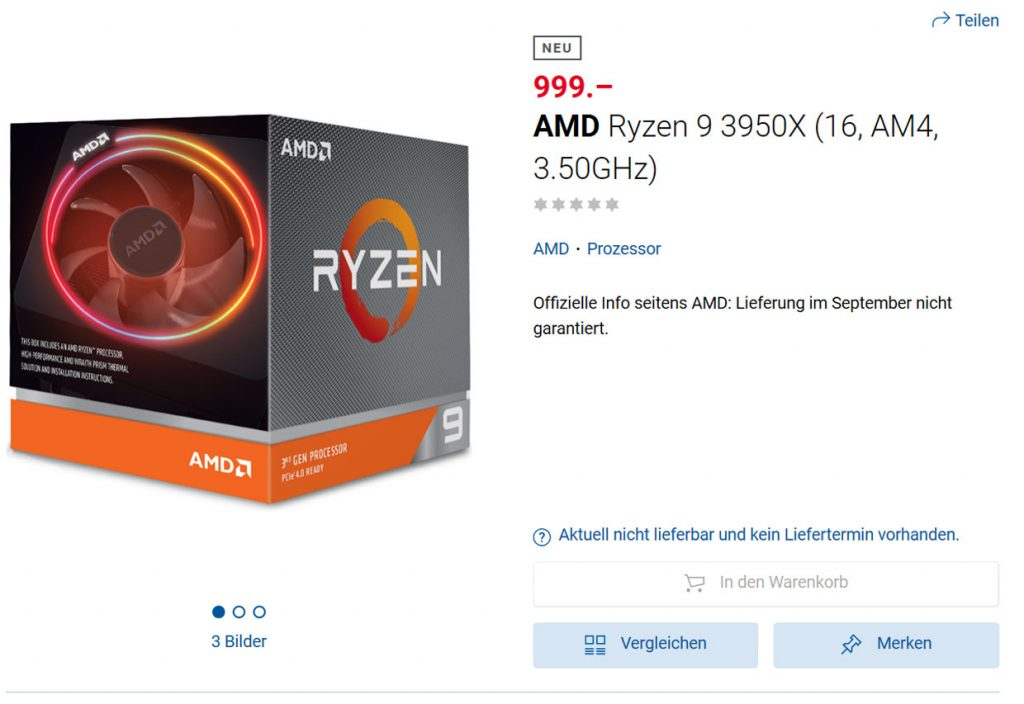 Processeur Ryzen 9 3950X d'AMD