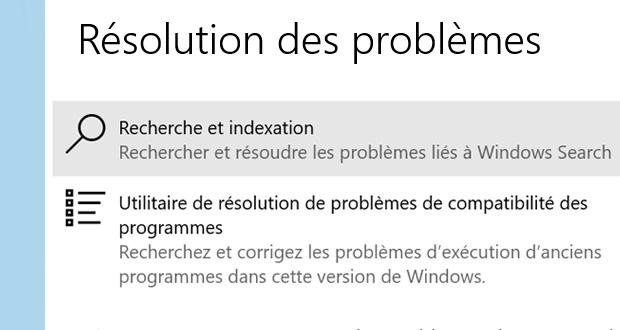 Windows 10 et l'utilitaire Résolution des problèmes