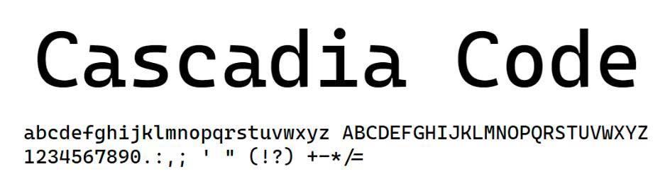 Police de caractères Cascadia Code de Microsoft