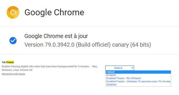 Navigateur Chrome (Canary) et la fonction Tab Freeze