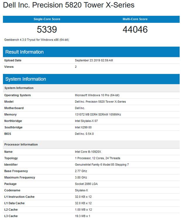 Intel Core i9-10920X – Scores sous Geekbench 4.0