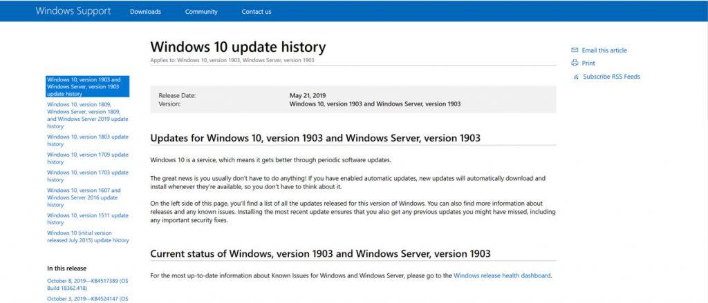 Windows 10 Update History de Microsoft