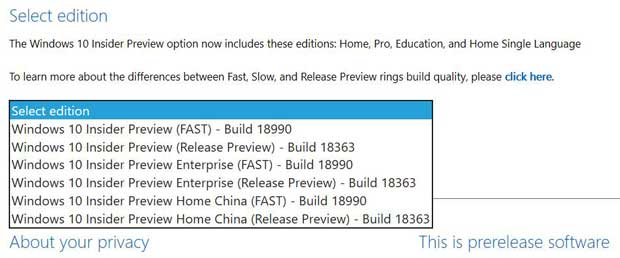 Windows 10 Build 18990 - ISO d'installation