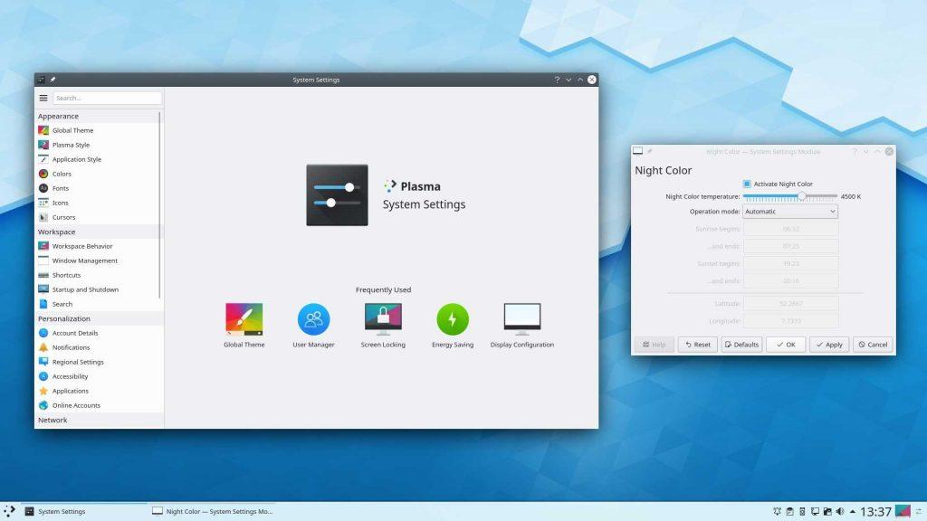 Environnement de bureau KDE Plasma 5.17
