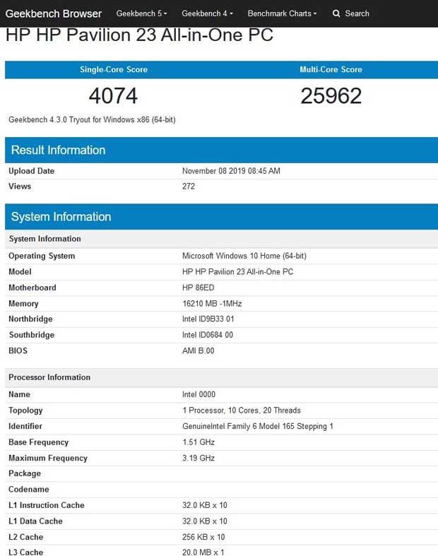 GeekBench 4.0 - Processeurs Intel Comet Lake-S