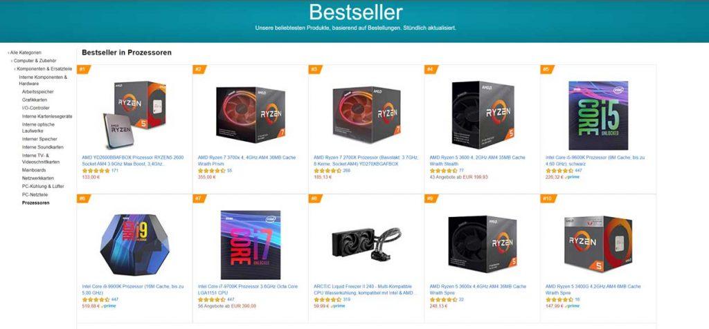 Amazon Allemagne - Meilleures ventes processeurs