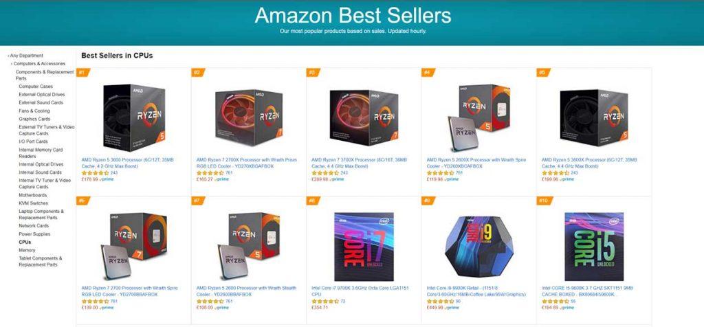 Amazon UK - Meilleures ventes processeurs