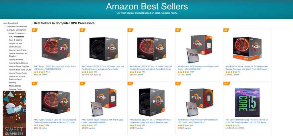 Amazon US – Meilleures ventes processeurs