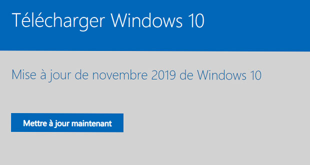 Windows 10 v1909 et l'Assistant de mise à jour