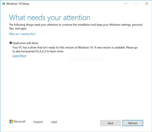 Windows 10 v1909 et v1903 – Avertissement d'un problème de compatibilité avec un adaptateur Wifi Qualcomm.
