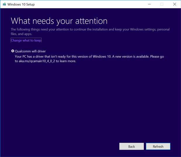 Windows 10 v1809 – Avertissement d'un problème de compatibilité avec un adaptateur Wifi Qualcomm.
