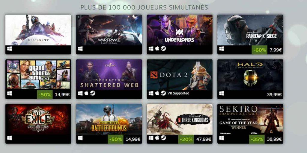 Steam - Top 2019 des jeux vidéo les plus joués sur PC