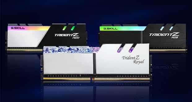 Mémoires DDR4 Trident Z RGB, Trident Z Royal et Trident Z Neo, G.Skill