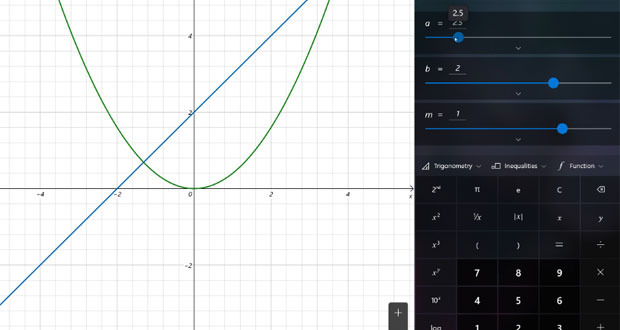 Mode Graphique de la Calculatrice de Windows 10 build 19546