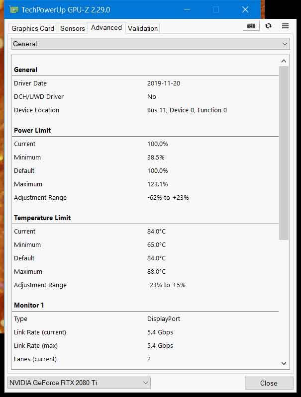 Utilitaire GPU-Z v2.29, capture d'écran