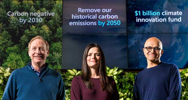 Microsoft annonce son plan « Microsoft will be carbon negative by 2030 »