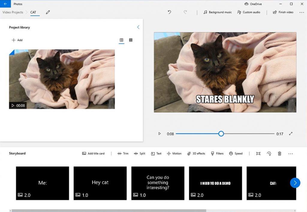 Windows 10 - Photos app video editor