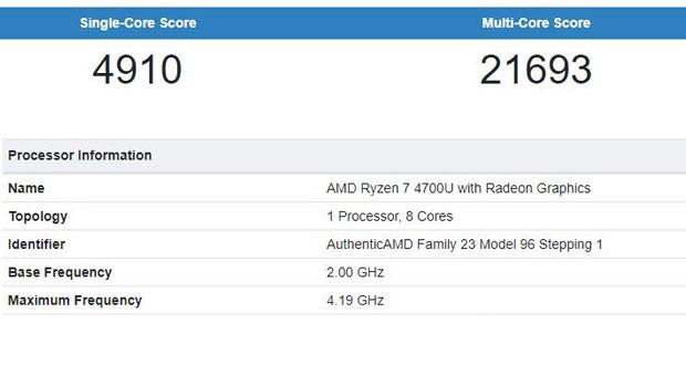 GeekBench – Processeur AMD Ryzen 7 4700U
