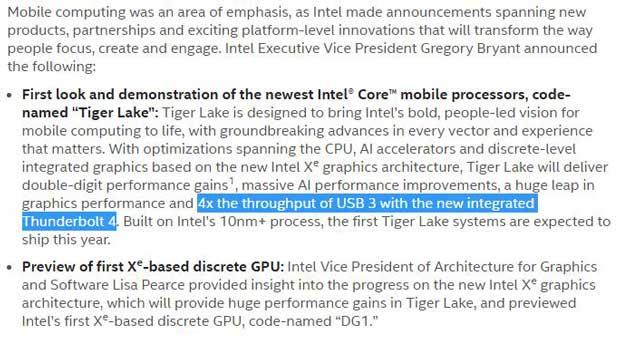 Communiqué de presse Intel autour des processeurs Tiger Lake et du Thunderbold 4