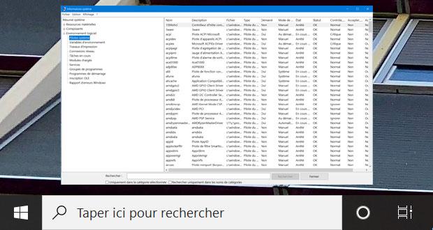 Windows 10 et la liste des pilotes présents.