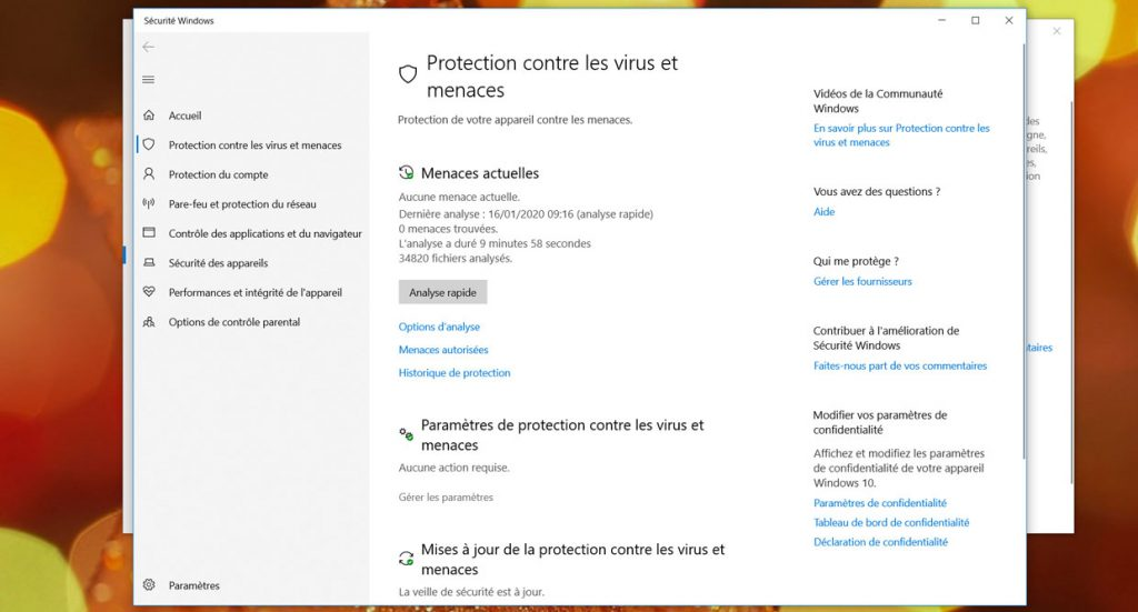 Windows 10, les options des notifications de Windows Defender