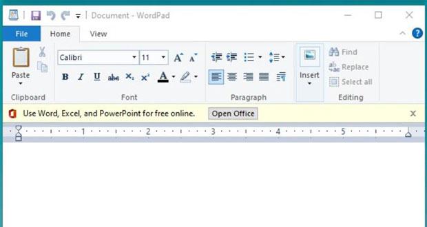 Windows 10 et WordPad, Microsoft incruste une bannière publicitaire