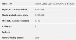 Utilitaire SystemInfo – Core i7-10700K