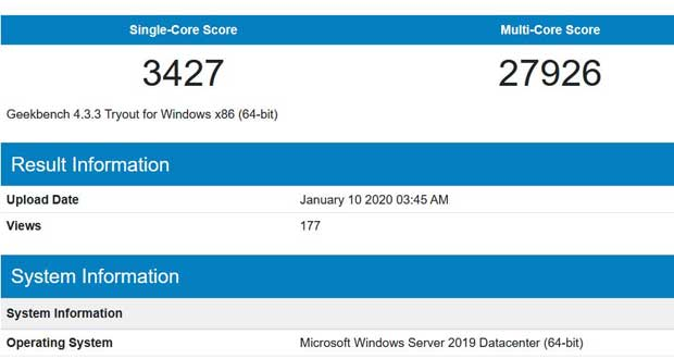 GeekBench - Processeur Intel Ice Lake-SP 10 nm
