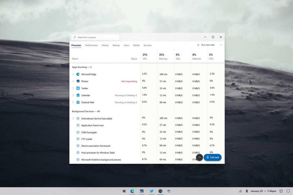 Windows 10 – Un concept design autour de son gestionnaire des tâches.