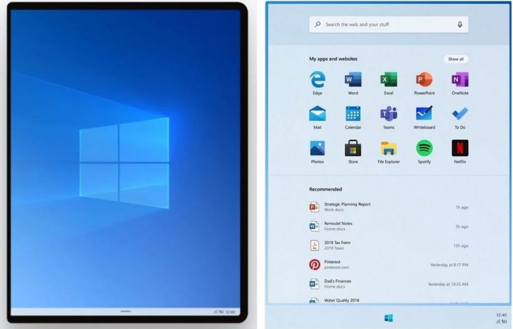 Windows 10X et l'explorateur de fichiers