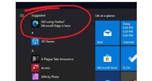 Windows 10, une pub pour Microsoft Edge débarque dans le menu démarrer