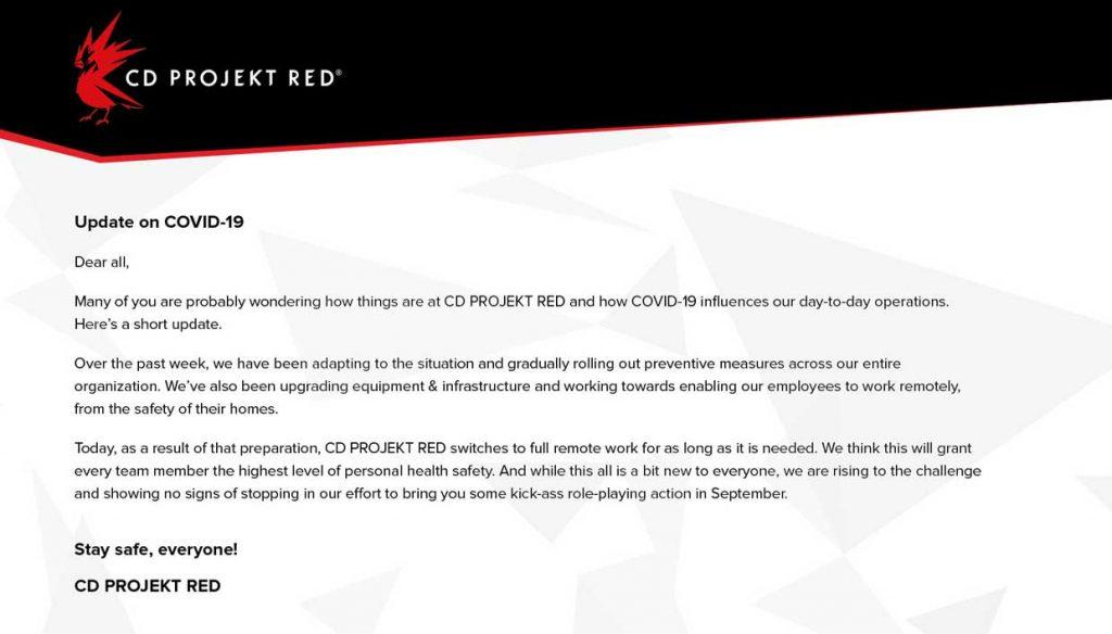 CDProjekt RED - Communiqué de presse