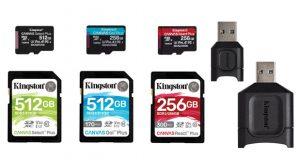 Cartes mémoires Canvas Slect Plus, Go ! Plus et React Plus et lecteurs UHS-II de MobileLite Plus de Kingston.