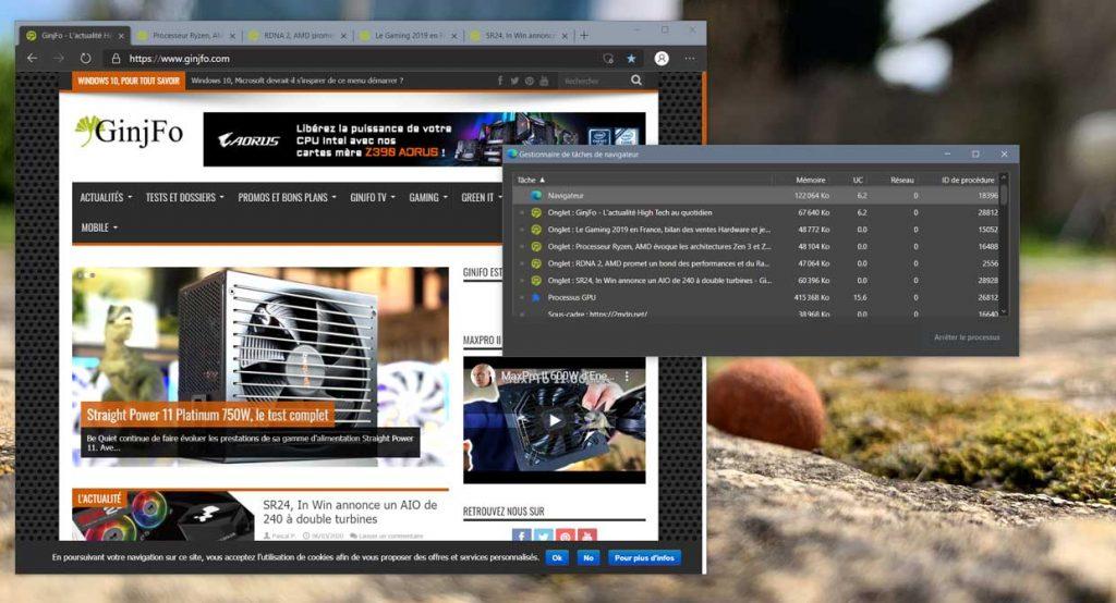 Le gestionnaire des tâches du navigateur Microsoft Edge