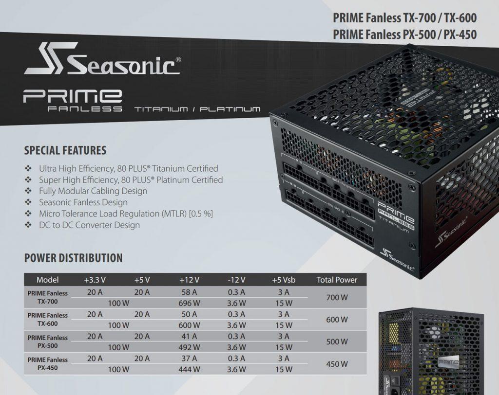 Gammes d'alimentation Prime Fanless TX et RX de SeaSonic