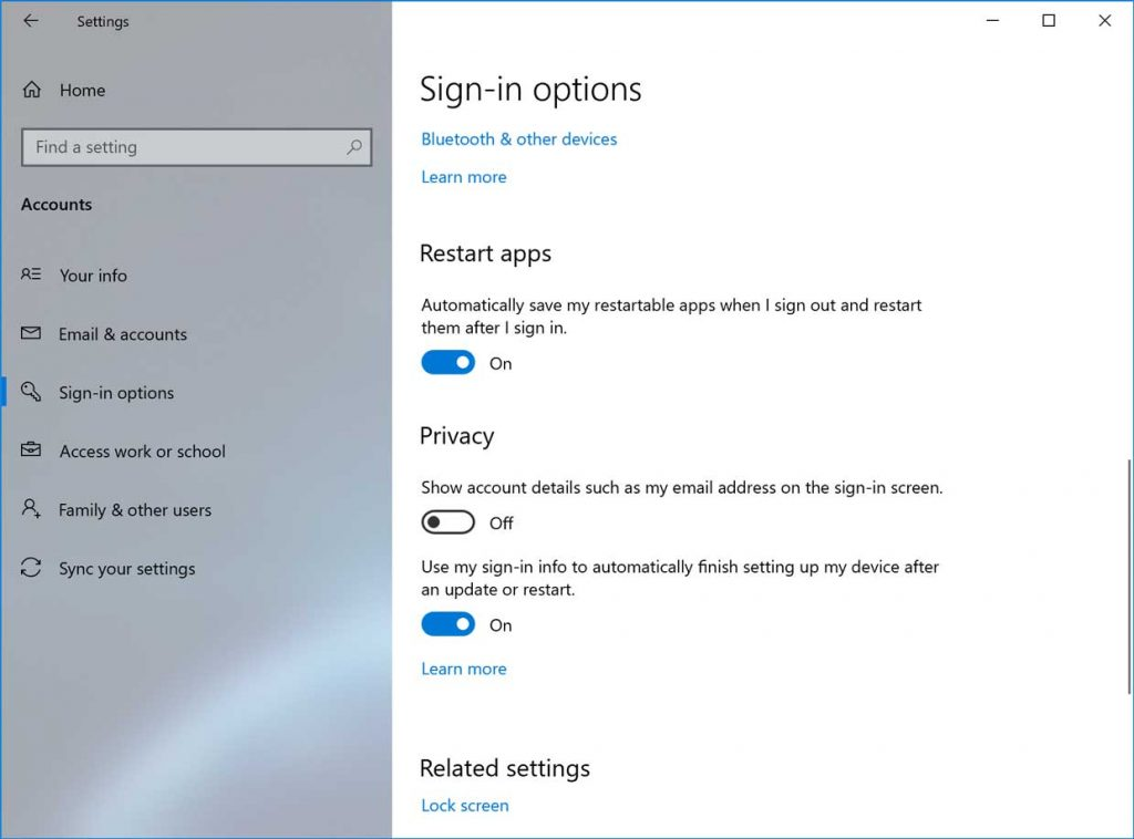 Windows 10 v2004 - Options de connexion