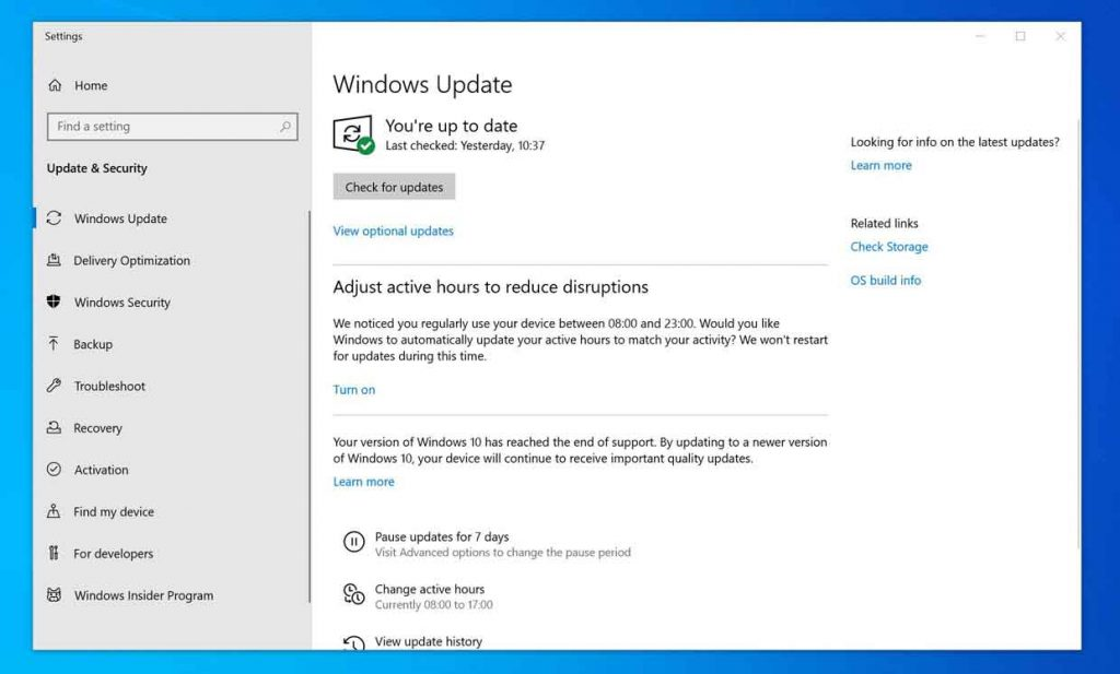 Windows 10, notification EOL présente dans Windows Update