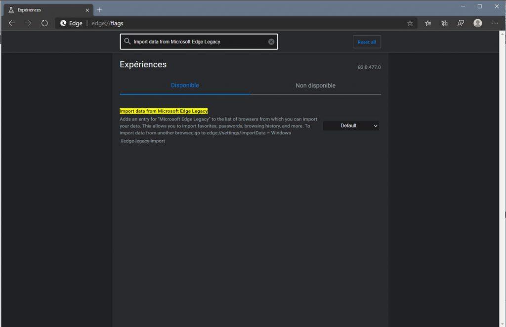 Microsoft Edge (Chromium) et l'option d'importation des données du navigateur