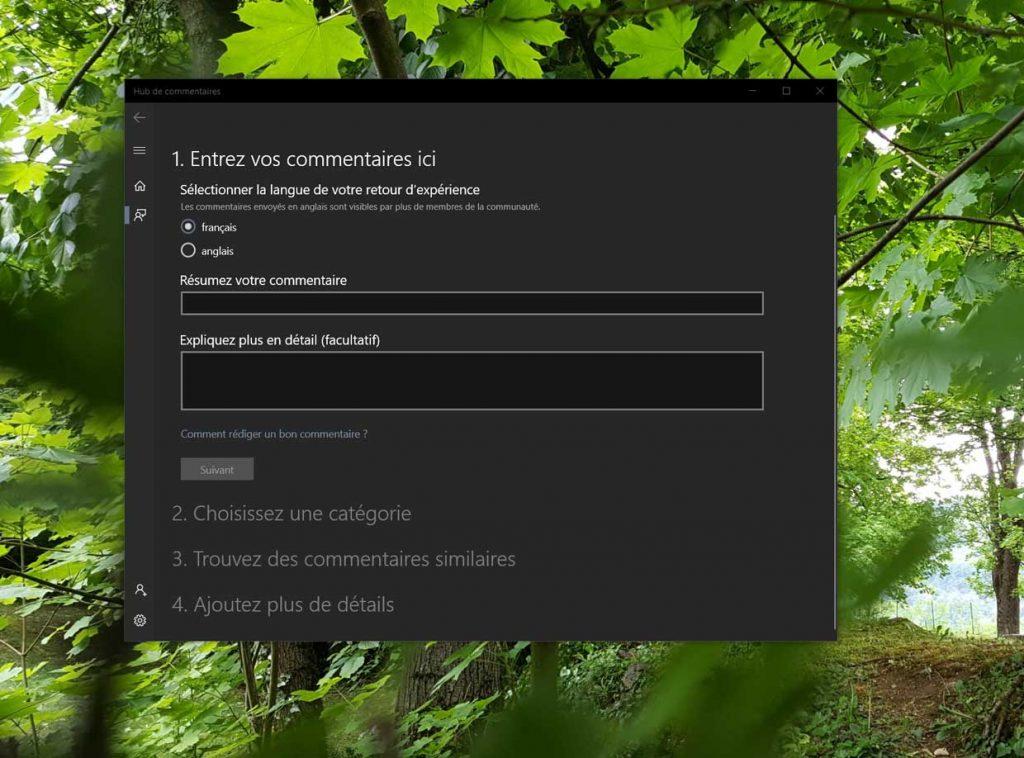 Windows 10, le Hub des commentaires