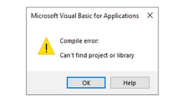 Microsoft Visuel Basic for Application – Erreur de compilation « Can't find project or library »