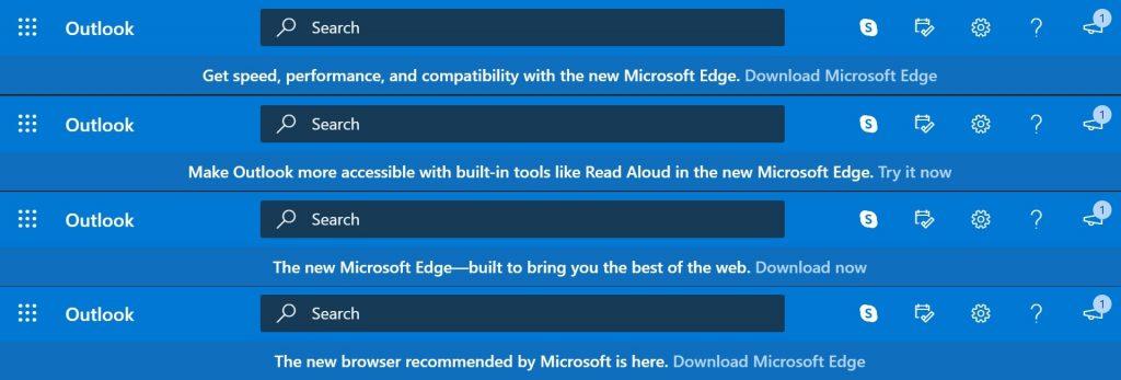 Outlook- Pub pour le navigateur Edge
